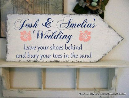 Personalised beach wedding sign, by thebackporchshoppe on etsy.com