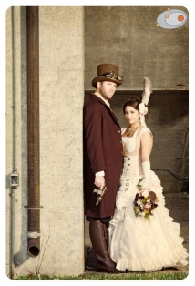 Steampunk bride and groom {via blossomsfloralartistry.com}