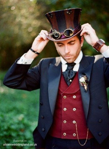 Steampunk groom style inspiration {via aliceinweddingland.co.uk}