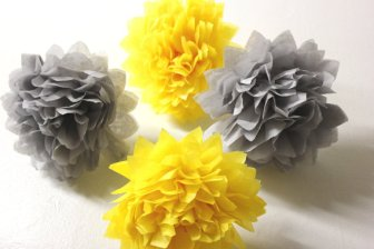 Tissue-paper pompoms, by PomGoddess on etsy.com