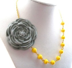 Yellow and grey necklace, by ElenaLimitedEdition on etsy.com