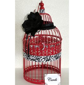 Birdcage card-holder, by DazzlingGRACE on etsy.com