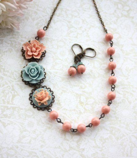 Bridesmaid necklace and earring set, by Marolsha on etsy.com