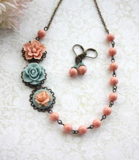 Bridesmaid necklace and earring set, by Marolsha on etsy.com