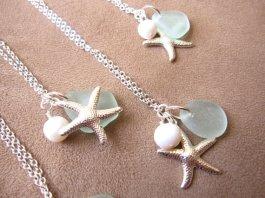 Bridesmaid necklaces, by SeaglassGallery on etsy.com