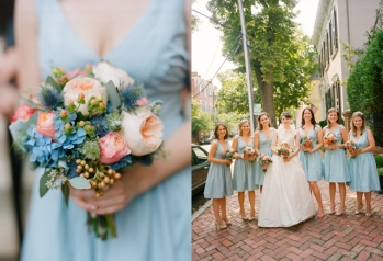 Bridesmaids in light blue {via thefullbouquetblog.com}