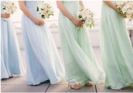 Bridesmaids in mint and blue dresses {via http---simplysouthernwedding.wordpress.com}