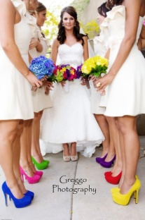 Bridesmaids in rainbow heels {via lakefrontwedding.com}