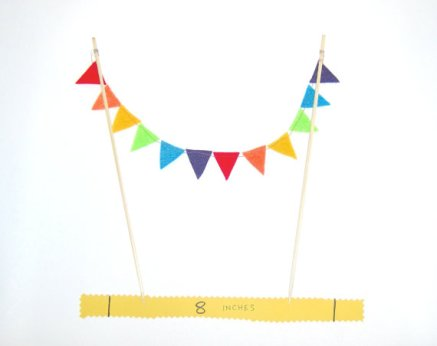 Bunting cake topper, by AntnFrog on etsy.com