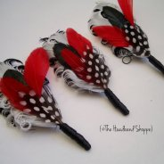 Groomsmen feather boutonnieres, by TheHeadbandShoppe on etsy.com