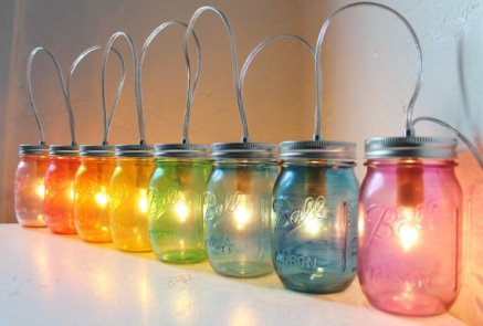 Mason jar lights, by BootsNGus on etsy.com