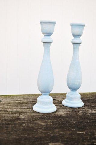 Pale blue candlesticks, by OldSoulWoodworks on etsy.com