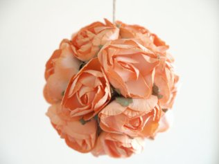 Paper rose pomander, by FairyfolkWeddings on etsy.com