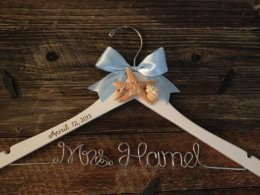 Personalised beach wedding dress hanger, by GetHungUp on etsy.com