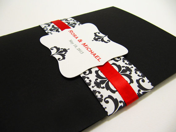 White And Red Wedding Invitations: Black, White And Red Wedding