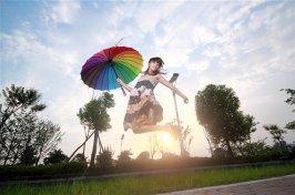 Rainbow umbrella, by idoidoforeverlove on etsy.com