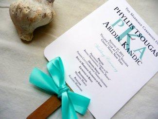 Wedding program fan, by PinkOrchidInvites on etsy.com