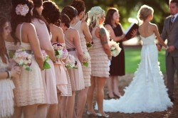 Bridesmaids in different blush dresses {via haydenolivia.com}