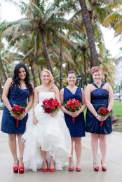 Bridesmaids in navy and red {via equallywed.com}