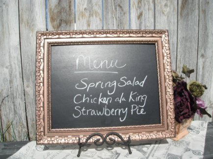 Copper-framed chalkboard, by VintageEvents on etsy.com