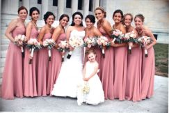 Dusky rose and grey bridal party