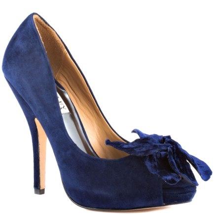 Maribelle - Navy Suede Badgley Mischka Heels, from heels.com