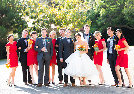 Navy and red wedding party {via 100layercake.com} | The Merry Bride