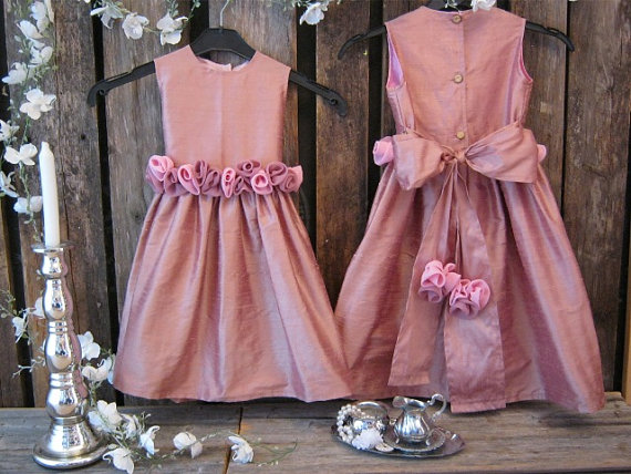 Dusty pink wedding dress
