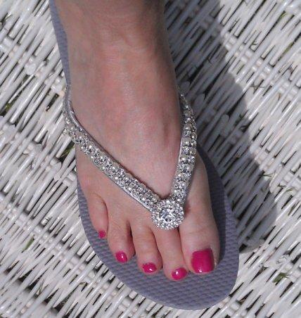 Bling footwear for a beach wedding, by PLKDesign on etsy.com
