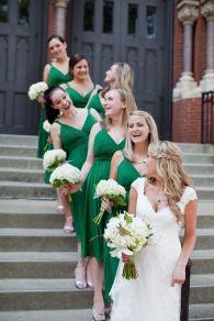 Bridesmaids in emerald