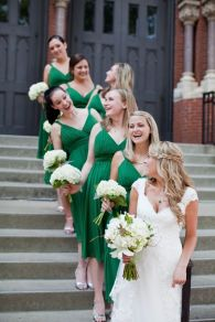 Bridesmaids in emerald