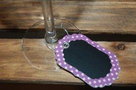 Chalkboard wine glass charms, by HappilyHandmadeDecor on etsy.com