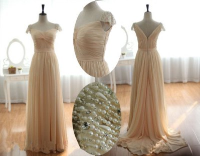 Champagne dress with pearl and diamante beaded cap sleeves, by missprom on etsy.com