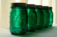 Emerald mason jars, by willowfairedecor on etsy.com