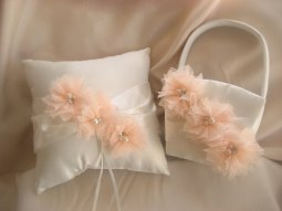 Flower girl basket and ringbearer pillow set, by nanarosedesigns on etsy.com