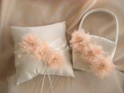 Flower girl basket and ringbearer pillow set, by nanarosedesigns on etsy.com