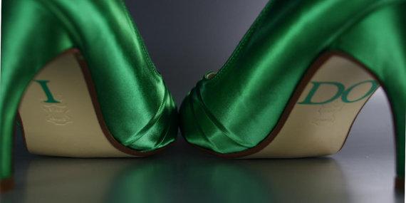 'I do' wedding heels, by DesignYourPedestal on etsy.com