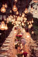Light bulbs hung over the tables