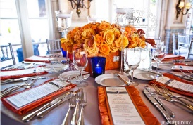 Orange and cobalt reception {via blog.karentran.com}