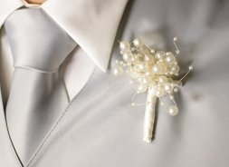Pearl boutonniere, by BridalBouquetsbyKy on etsy.com
