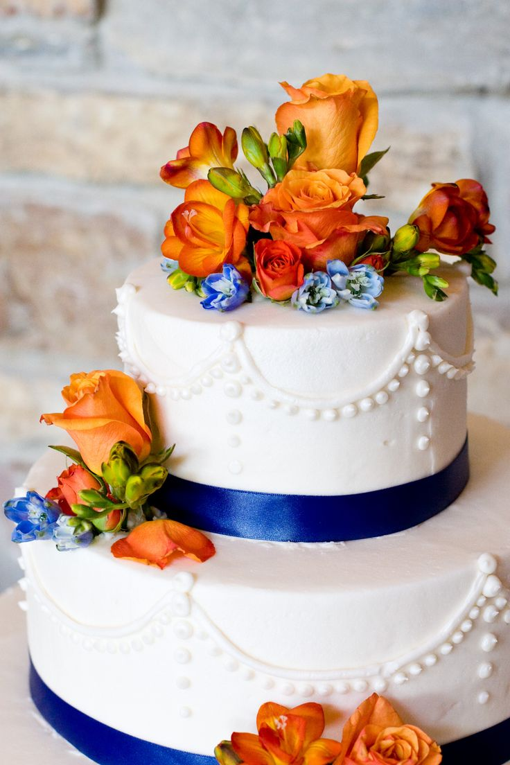 navy blue and orange wedding cakes cobalt blue and orange wedding the merry 17756