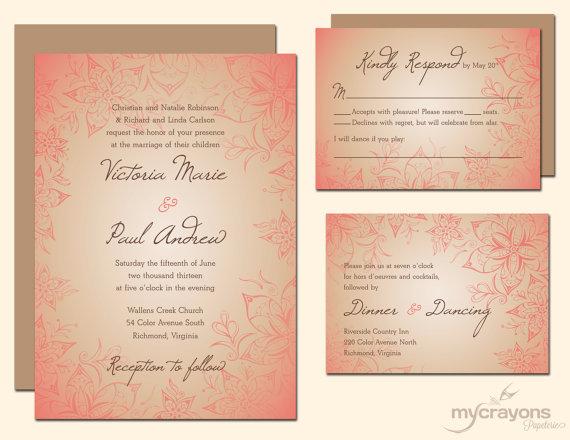 Wedding invitation, by MyCrayonsPapeterie on etsy.com
