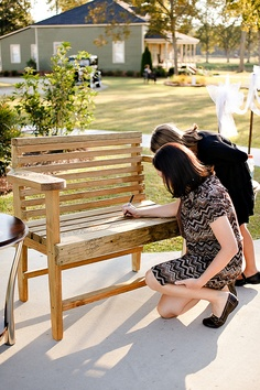 Wooden bench as a guest book