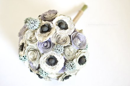 Bouquet made from Jane Austen novels, by AnthologyOnMain on etsy.com