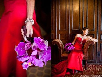 Bride in red with a purple bouquet {via weddingbelltalk.com}