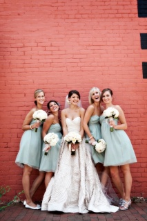 Bridesmaids in seafoam green {via stylemepretty.com}