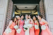 Bridesmaids in shades of coral {via societybride.com}
