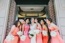 Bridesmaids in shades of coral {via societybride.com}