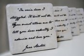 Coasters featuring Mr Darcy's proposal, by MeadowTea on etsy.com
