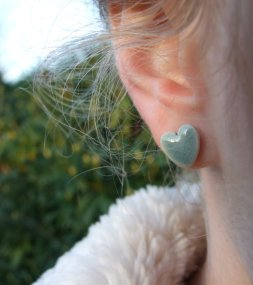 Heart earrings, by damsontreepottery on etsy.com